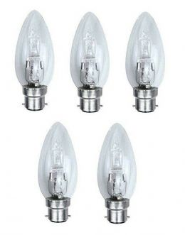5 x 42w (=60w) Watt B22 Clear Bayonet Cap Base Eco Halogen Dimmable Candle Bulbs